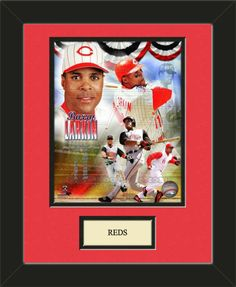 One framed 8 x 10 inch Cincinnati Reds photo of Jrey votto with a customizable nameplate*, double matted in team colors to 11 x 14 inches.  $49.99 @ ArtandMore.com