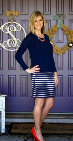 I like this dress for a quick comfy go to piece. I also like the navy color but would love to see ways to pair other colors with it.