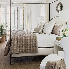 A gorgeous light & airy bedroom designed by @suzannekasler 📷: Laurey W. Glenn via: @southernlivingmag