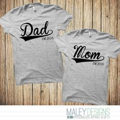 Mom and Dad Shirts, New Parent Gifts, Matching Couple Shirts, Baseball Shirts, Family Tshirts, New Mom, New Dad, Gift for New parents