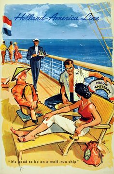 Original Vintage Posters -> Travel Posters -> Holland America Cruise Ship Line - AntikBar
