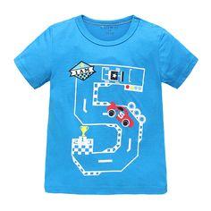 Baby Boy Short Sleeve T-shirt Summer Shirt Cartoon NO. 5 Car Race 100% Cotton Baby Boy T shirt Kid Boy T-shirt Infant Tees