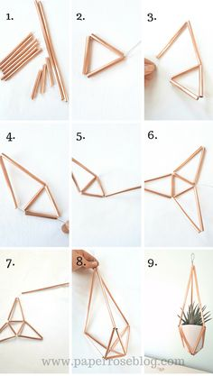 DIY Himmeli Style Plant Holder {Creative Team Post} - DIY Passion Inside: A DIY Tutorial to make your own Himmeli style hanging plant holder; a simple craft for an afternoon; made with Rose gold piping Diy Home Decor Projects, Diy Home Crafts, Diy Room Decor, Diy Yarn Holder, Diy Para A Casa, Diy Plant Stand, Geometric Decor, Handmade Home, Plant Decor