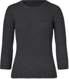Jil Sander Navy Wool-Cashmere Ribbed 3/4 Sleeve Pullover on shopstyle.com