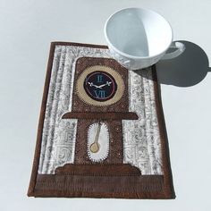 Quilted Mug Rug Whimsical Grandfather Clock by IsabellasWhimsy