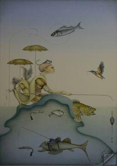 """Surrealisme in opdracht.  Titel: """"Bijzondere vangst"""" - 2006. Gemengde techniek op 500gr papier"""