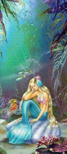 Mermaid missing her Lost  Love.