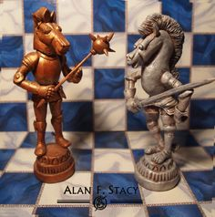 "Knights from Lewis Carroll's ""Through the Looking Glass"" based on the illustrations by John Tenniel, each about 5 inches high, made from Super Sculpey."