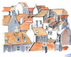 Robin Hoods bay Rooftops   por John Harrison, artist