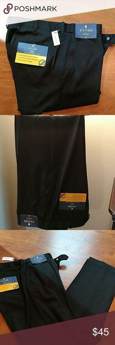 STAFFORD DRESS PANTS SIZE 34?32 STAFFORD DRESS PANTS. SIZE 34?32. TRAVEL CLASSIC FIT ENDURANCE TROUSER FLAT FRONT. CAVIAR/BLACK. NWT Stafford Pants Dress