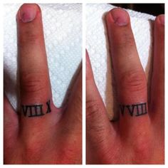 roman numerals for a wedding ring.  tattoo.