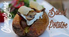 Champignon gefüllte Backkartoffel vom Grill