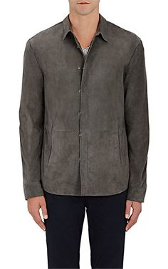 John Varvatos Suede Shirt Jacket - Utility/Field - Barneys.com