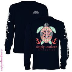 Simply Southern Collection Preppy Turtle Chevron Anchor Long Sleeve T | SimplyCuteTees