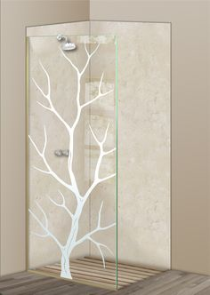 Shower Divider Panel featuring the Branch Out design in the 1D Positive Clear effect by Sans Soucie Art Glass. Design elements are sandblast etched on the top surface of smooth, clear glass, and are solid white shapes.  This effect is considered semi-private, as the clear glass background area of the glass, will vary by design.