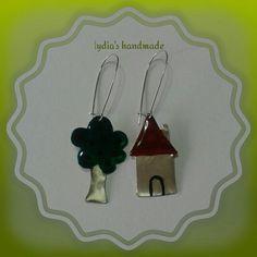 Σκουλαρίκια χειροποίητα, σπίτι και δέντρο, με αλπακά σμάλτο και υγρό γυαλί!