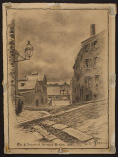 Hull and Snowhill Streets, Boston, 1890 | Original art collection (GC001) -- Historic New England