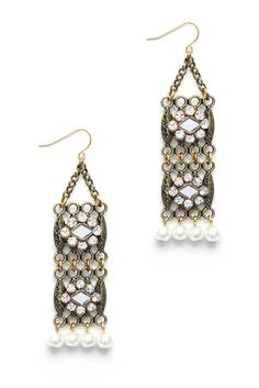 Lenora Dane Hanging Pearl & Crystal Drop Earrings | South Moon Under