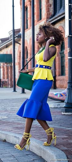 Love this peplum skirt and how she mixed blue, yellow, and green so graciously together. Neoprene peplum skirt, green satchel, sleeveless peplum top, and metallic belt. Summer fashion | Fashion blogger | Summer style | Summer outfit | Spring fashion | Alaska | Summer looks | Summer hair | Street Style |
