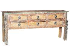 Beautiful Reclaimed Teak Wood, 6 Drawer Sideboard