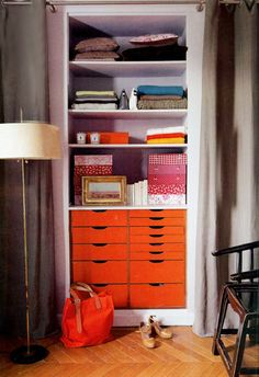 Well-Organized Closet Behind Drapes | from Bungalow 9 | House & Home