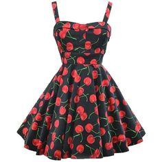 Cherry Printed Audrey Hepburn Sundress Vintage Style 50S Sleeveless... ($34) ❤ liked on Polyvore