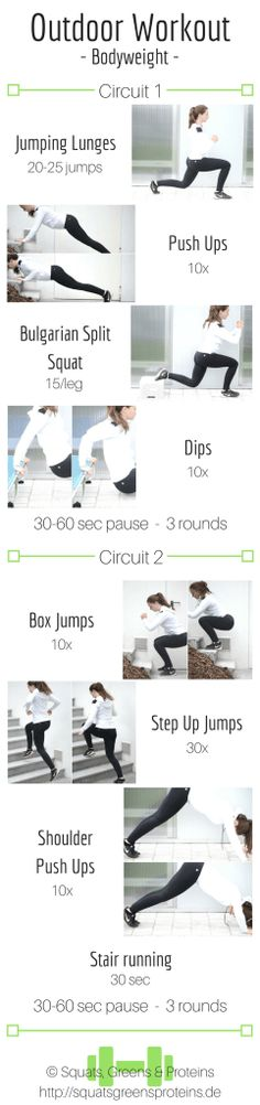 Outdoor Bodyweight Workout - Full Body Workout No Equipment - Fitness Abnehmen Gesundheit Sport - Squats, Greens & Proteins