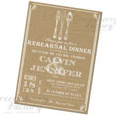 Kraft Paper Rehearsal Dinner Invitation - Typography Wedding Shower Invite - Custom Color and Wordings - No.314. $18.00, via Etsy.