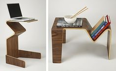 Multi-Function Table by Tre Coffee table, computer table, or tray table, this bent wood piece can be flipped on its feet. $122