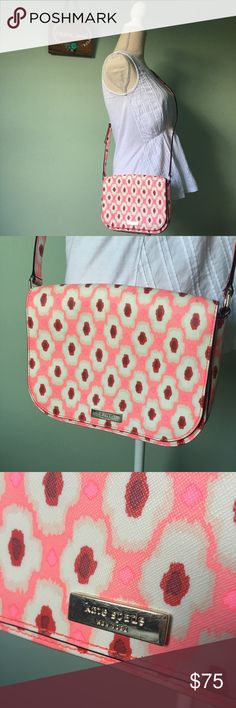 """Kate Spade Laurel Way Pink Ikat Crossbody Bright pink crossbody by Kate Spade.  In good pre-owned shape.  I have noted marks, as well as a bit of discoloration on the back from rubbing against jeans.  Strap has 5 notches for shortening/lengthening.  I have original tags to send.    Height: 7"""" Width: 9"""" Depth: 2 1/2"""" Material: 100% polyvinyl chloride Brand: Kate Spade New York  If you have any questions, I'll gladly answer!  Dog friendly home 🐶🐶    Send me and offer 😍😍  Thank you for…"""