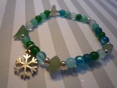 Light Aqua Mix Glass Beads Stretch Cord Charm by urbaneprincess, $16.00
