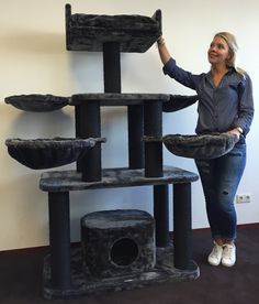 Cat Scratching Tree Large XXL Black Panther Plus 12CMØ Cat Scratching Tree 100X60X173CM and 64kg Super Amazon Promo. Large and Heavy Cat Scratching Post. From Rhrquality