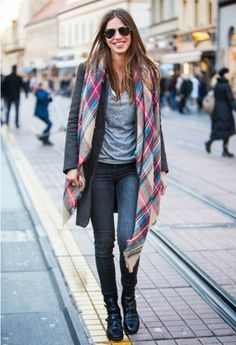 this is pretty much all I have worn all winter...jeans, t-shirt, long plaid scarf.