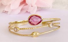 Bracelet jonc or améthyste  rose