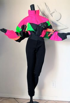 Vintage 1980s Ski Suit Puffer Jacket Outfit SPACE by elliemayhems, $139.00