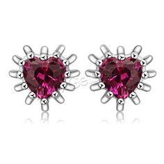 925 Sterling Silver Stud Earring,  with Ruby, Heart.