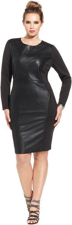 Plus Size Faux-Leather Bodycon Dress