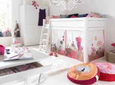 Lofted Bed with Alice in Wonderland Canopy - what a sweet, whimsical space for a big girl!