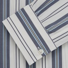 Blue, Green & White Stripe Weekend Fit Shirt with Derby Collar & 1-But – Turnbull & Asser