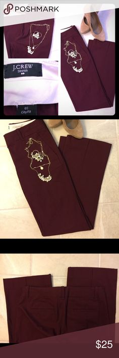 J. Crew City Fit Addison Chino Pant 0s J. Crew Pant. Addison Chino. City fit. Size 0 Short. Burgundy color. Pre-owned looks like new. In great condition with no known tears snags or stains. Comes from smoke free and clean Home. Thank!! J. Crew Pants