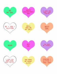 Free GALentine's Day Conversation Heart Printables - the perfect little addition to your valentine's day cocktail Valentines Day Party, Be My Valentine, Valentine Cards, Happy Galentines Day, Converse With Heart, Love Days, Happy Holidays, Major Holidays, Crafty Craft