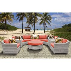 TK Classics Fairmont 8 Piece Outdoor Wicker Patio Furniture Set with 2 Covers: Beige and Aruba Resin Patio Furniture, Outdoor Wicker Patio Furniture, Outdoor Decor, Outdoor Daybed, Outdoor Ideas, Backyard Ideas, Garden Furniture, Outdoor Chairs, Decoration