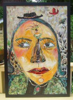 Large Collage Painting of Girl and Cardinal - Original Outsider Folk Art - Yellow, Green, Teal Blue, Red