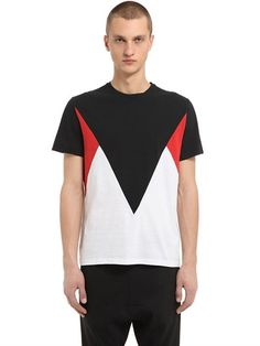 NEIL BARRETT Patchwork Cotton Slub Jersey T-Shirt, Black/Red/White. #neilbarrett #cloth #t-shirts