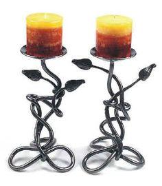 Leaf Table Candle Holder by Jim Carter, artist blacksmith, Bracebridge, Ontario
