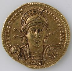 Gold Solidus of Constantine II  Date: 337–361  This coin was struck in Rome, probably in the year 353 by Constantius II, one of the four sons of Constantine the Great. Constantius II ruled the Eastern half of the empire from 337 to 353, when he became ruler of the entire empire upon the death of his brother Constans (350) and the defeat of the usurper Magnentius (353). He is remembered for his support of Arianism (a Christian sect that had been declared heretical at the Council of Nicaea in…
