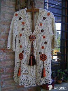 Crochet Coat, Crochet Jacket, Crochet Cardigan, Crochet Clothes, Crochet Winter, Knitting Designs, Knitting Stitches, Freeform Crochet, Beautiful Crochet