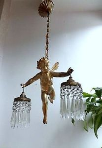 Cherub chandeliers vintage french gilt flying cherub vintage cherub crystal chandelier google search aloadofball Images