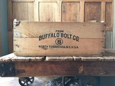 LARGE VINTAGE WOOD CRATE, BUFFALO BOLT CO. NORTH TONAWANDA NY, VINYL RECORD STORAGE  Hard to not love this old crate! Larger in size, very useful, displays great! Solid construction, thick wood walls. Bold, black script on both sides From Buffalo Bolt Co. North Tonawanda, N.Y., U.S.A Machine, 1/4x2-1/2, 3200, 165 LBS. stenciled on one of the short ends. Very good condition overall, normal vintage wear from use. Surface scuffs, scratches, chips, nicks, larger split in one of the bottom…