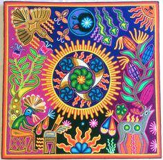 23.5 Mexican Huichol Marakame and Spirits yarn painting by Aramara
